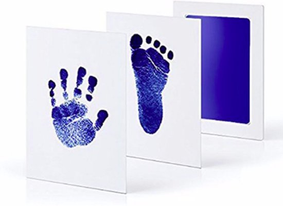 Baby voetafdruk en baby handafdruk inkt -baby cadeau (blauw)