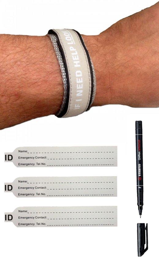 SOS armband volwassenen Grijs inclusief Pen en Reservekaartjes / naambandje / ID armband / Sport infobandje / alarmbandje