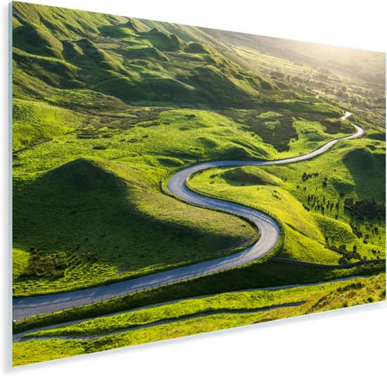 Kronkelweg door het Nationaal park Peak District in Engeland Plexiglas 90x60 cm - Foto print op Glas (Plexiglas wanddecoratie)