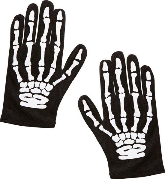 Halloween skelet handschoenen kind - Verkleedattribuut