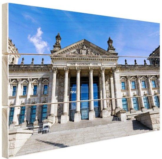 Dem Deutschen Volke op de reichstag Hout 80x60 cm - Foto print op Hout (Wanddecoratie)