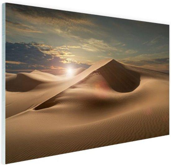 Zandduinen in een woestijn Glas 30x20 cm - klein - Foto print op Glas (Plexiglas wanddecoratie)