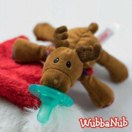 Wubbanub - Rendier - Speenknuffel / Knuffelspeen / Fopspeen met knuffel / De Wubbanub wordt geleverd in een verzegeld geschenkdoosje - Winnaar beste babyproduct in 2014