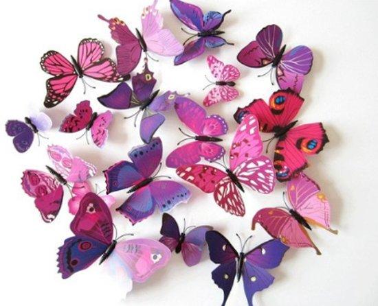 bolcom 3d vlinders muursticker muurdecoratie voor