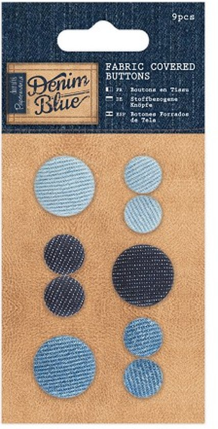 Fabric Covered Buttons (9pcs) - Denim Blue