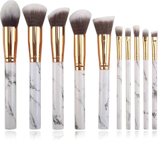 10-delige Make-up Kwasten/Brush Set | Marble / Marmer | Fashion Favorite