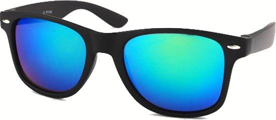 Koopjegadget - Wayfarer Zonnebril Mat Zwart Groen Blauw Spiegel