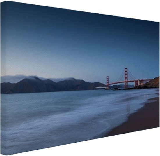 FotoCadeau.nl - Zonsondergang bij Marshal Beach Canvas 120x80 cm - Foto print op Canvas schilderij (Wanddecoratie)