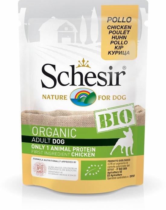 Schesir Hond Bio Pouch Paté 85 g - Hondenvoer - Kip