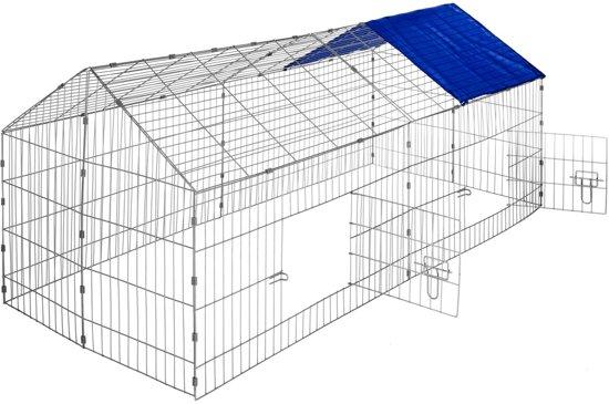 TecTake -  Konijnenren met zonnescherm blauw - 402419