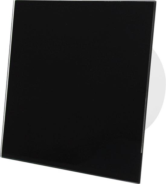 Badkamerventilator diameter 100 mm - front zwart glas