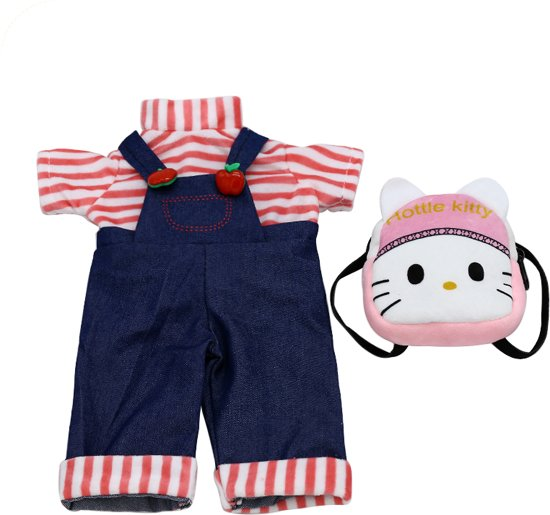 Baby born kleertjes set - Tuinbroek, shirt en rugzak met Hello Kitty - 40 -45 cm Poppen kleding