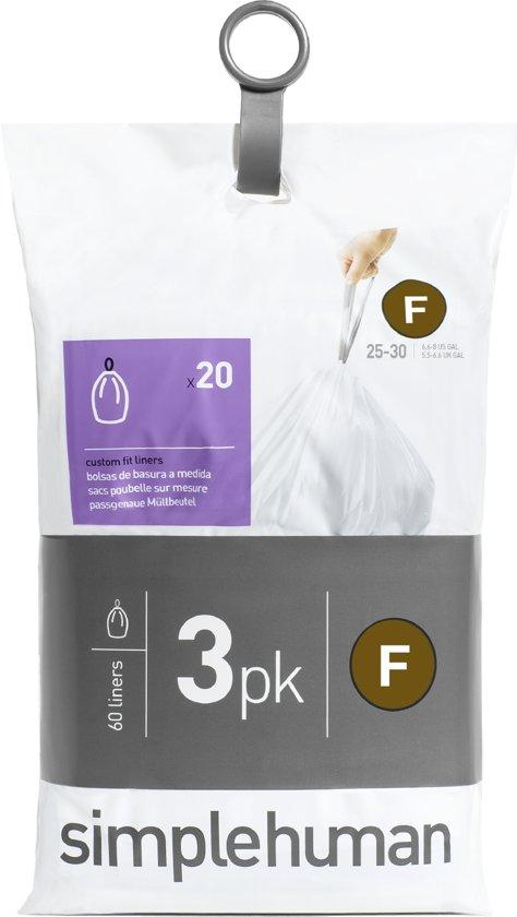 Simplehuman Afvalzak Code F Pocket Liners 25 Liter (60 stuks)