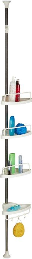 relaxdays doucherek telescopisch - badkamer - kunststof vakken - klempaal - hoekrek zilver