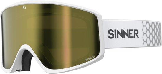 Sinner Sin Valley Unisex Skibril - Wit frame - Goudkleurige lens + Oranje lens