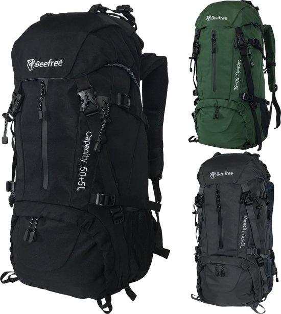 Beefree 55 Liter nylon Backpack Zwart | Inclusief regenhoes