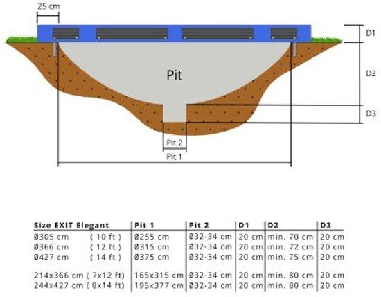 EXIT Elegant Premium Inground Trampoline à 305 cm met Veiligheidsnet