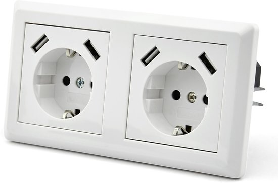 Homra USB stopcontact, USB wandcontact 6in1 (2stuks)