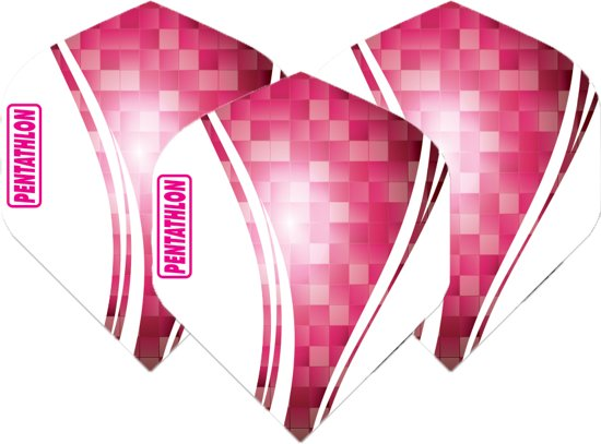 Pentathlon Wave - sterke flights - Roze - Dragon darts - 1 Set (3 stuks) - darts flights