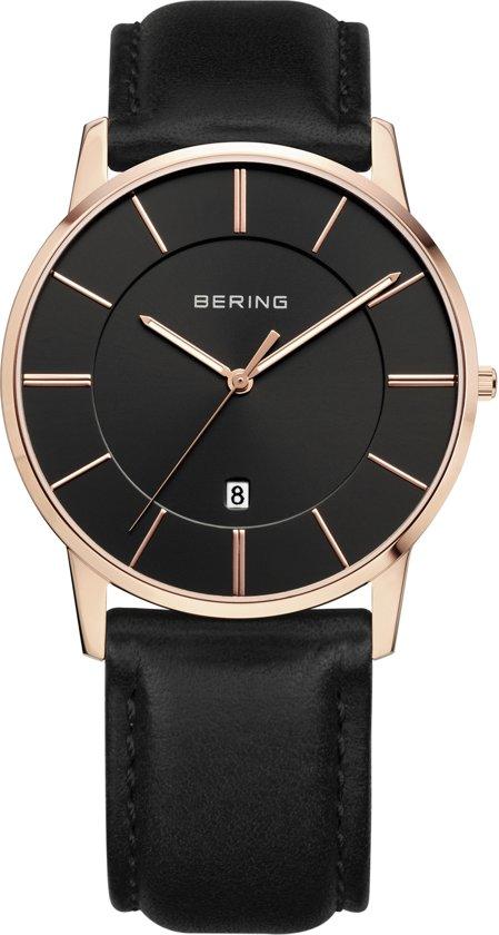 BERING 13139-466 - Horloge - Leer - Rosékleurig - 39 mm
