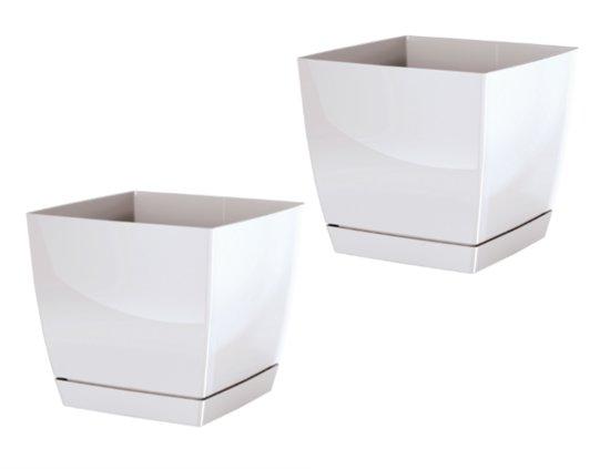 Witte Bloempot Vierkant.Bloempot Vierkant Dukp 12x12x11cm Wit Prosperplast 2 Stuks