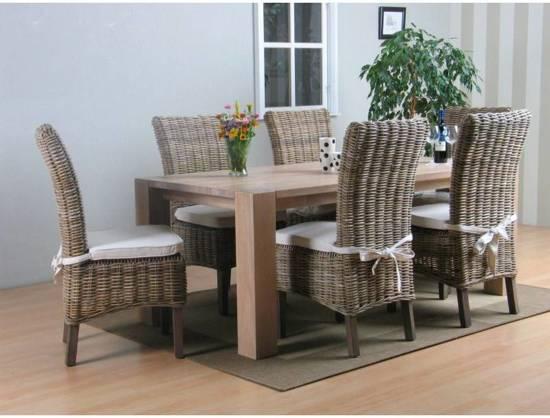 Tafel Grijs Eiken : Bol.com grand eethoek tafel met 6 rotan stoelen eiken grijs