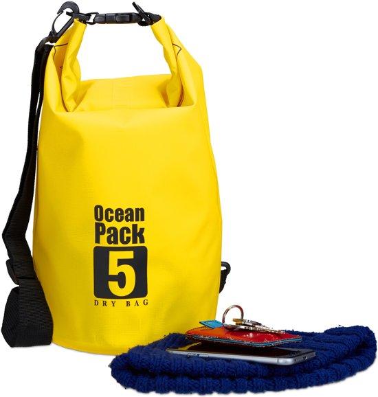 ... relaxdays Ocean Pack 5 liter waterdichte tas droogtas outdoor plunjezak zeilen geel