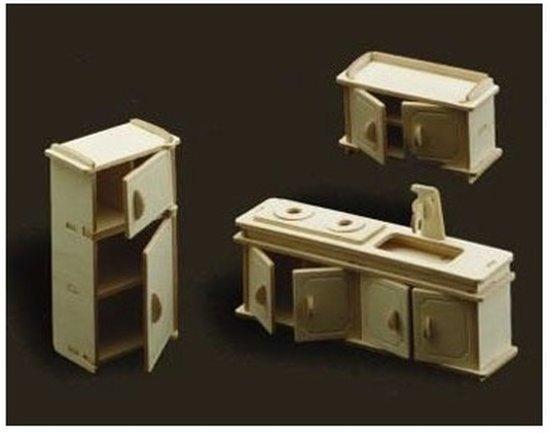 Poppenhuismeubels Keuken- houten bouwpakket