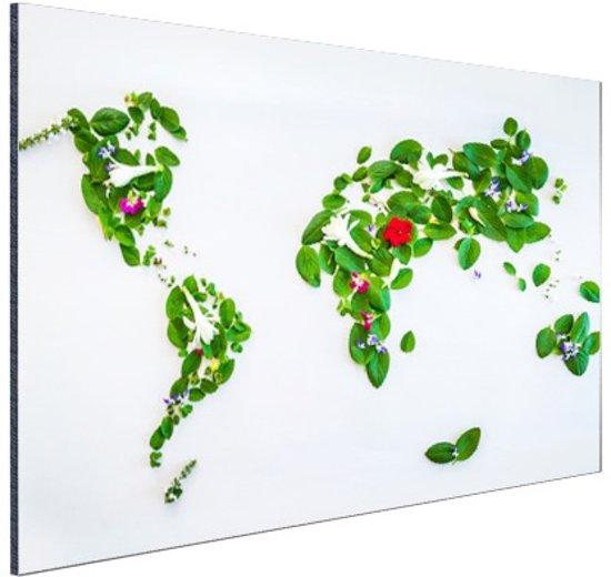 Wereldkaart met bladeren en bloemen Aluminium 90x60