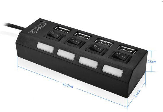 mmobiel high speed 4 side ports 20 usb hub multi oplaadadapter met aanuit knop
