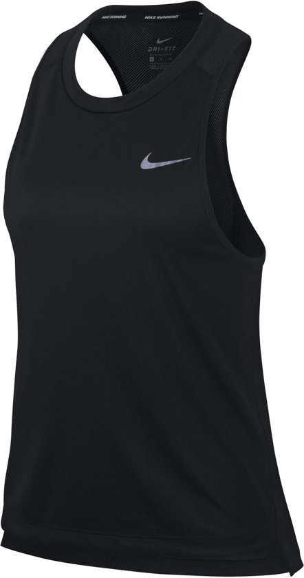 Nike Miler Tank Sporttanktop Dames - Black/(Reflective Silv)