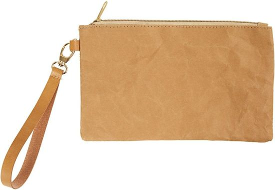 Faux Leather Clutch, l: 21 cm, h: 18 , lichtbruin, 1stuk