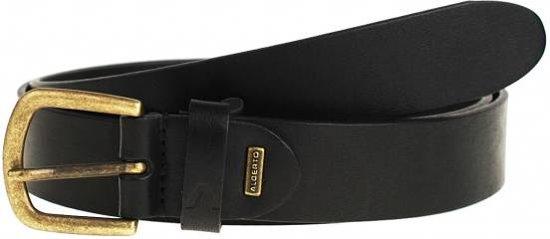 Smalle zwarte casual riem met old-look gesp - Maat 115