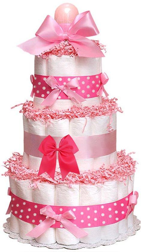 Luiertaart / pampertaart 3-laags meisjes maat 2 (4-8 kg) Kraamcadeau, Babyshower, Geboortecadeau