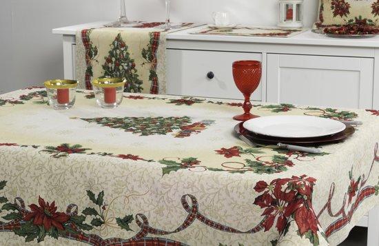 Tafelkleed  - Tafellaken - luxe gobelin - Kerst Ribbon - Vierkant 100 x 100 cm - Christmas