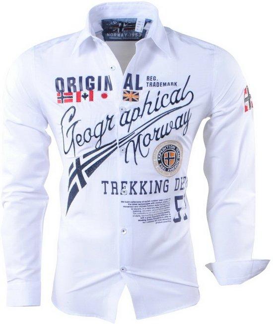 Slim Fit Heren Overhemd.Heren Overhemd Norway Geographical Wit Zoliday Slim Fit 6tvgqw