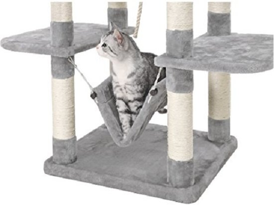 SONGMICS | XXL Luxe Katten Krappaal | Katten Activity Center met een hangmat | Katten Klim / Krappaal | Hoogte: 154 Cm. | Kleur: LICHT GRIJS
