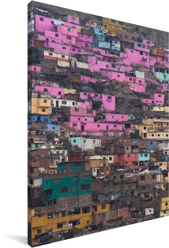De glansrijke huizen in de wijken van Lima Canvas 90x140 cm - Foto print op Canvas schilderij (Wanddecoratie woonkamer / slaapkamer)