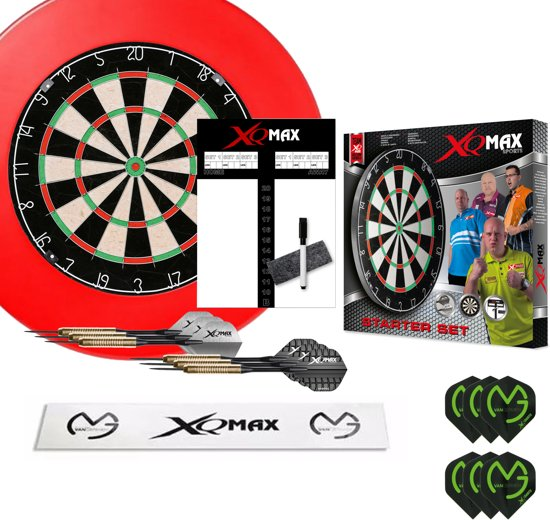 XQ-MAX Michael van Gerwen complete starter set - dartbord - accessoires - surround ring rood