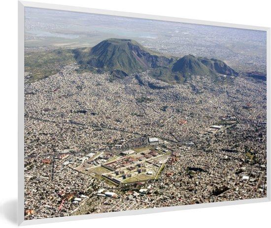 Foto in lijst - Uitzicht vanuit de lucht over Mexico-stad fotolijst wit 60x40 cm - Poster in lijst (Wanddecoratie woonkamer / slaapkamer)