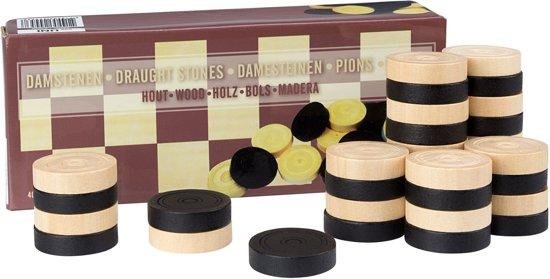 Abbey Game houten damschijven 34 x 8 mm 40 stuks