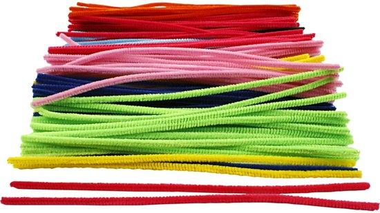 Chenille draad, dikte 6 mm, kleuren assorti, 200 assorti