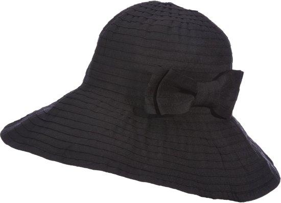 659c0de2d2beb5 Scala Oprolbare Hoed Dames met strik - Zwart - Maat 57,5cm
