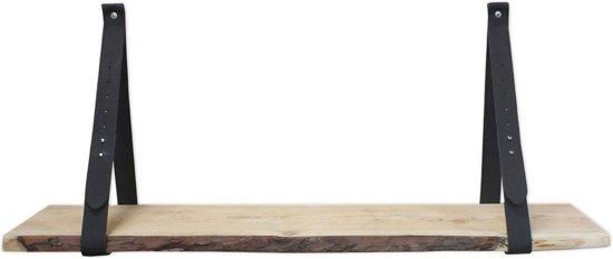 Steigerhoutpassie leren plankdrager - set Douglas schaaldeel - Zwart