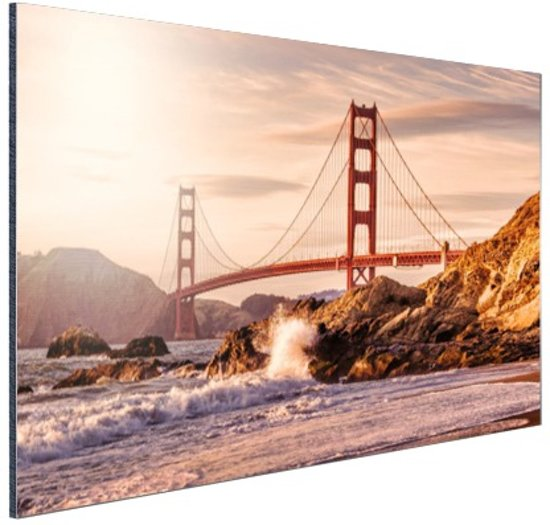 Golden Gate Bridge Aluminium 30x20 cm - Foto print op Aluminium (metaal wanddecoratie)
