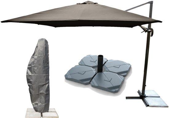 Parasolvoet Voor Zwevende Parasol.Kopu Cadiz Zweefparasol Met Parasolhoes En Parasolvoet 300x300 Cm Vierkant Taupe