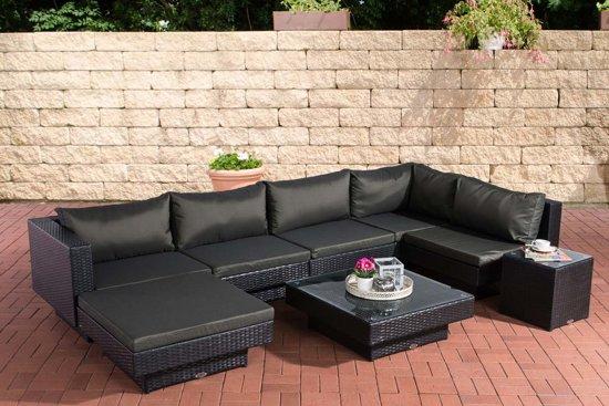 Clp Poly-rotan Wicker tuin loungeset TUNIS, zitbank, 6 personen, tafel 80 x 80 cm, kussens - rotan : zwart overtrek: antraciet