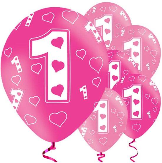 Bol Com 1 Jaar Ballonnen Meisje Eerste Verjaardag Roze Metalic