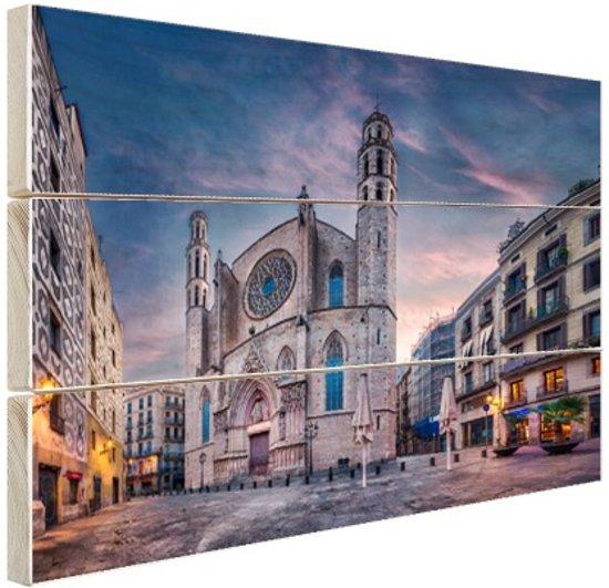 Kerk Santa Maria del Mar in Barcelona Hout 80x60 cm - Foto print op Hout (Wanddecoratie)
