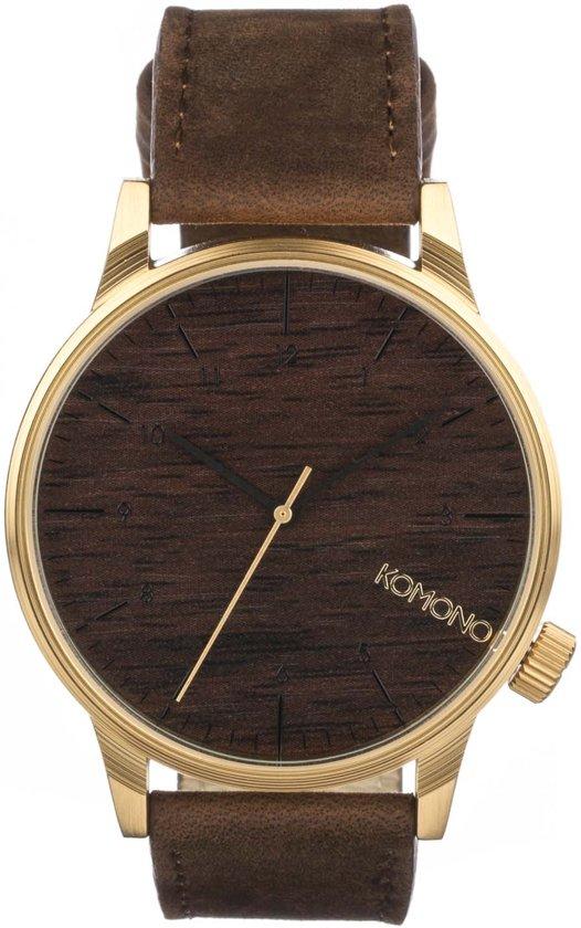 43051024ee210b Komono Winston Gold Wood horloge heren - bruin - messing